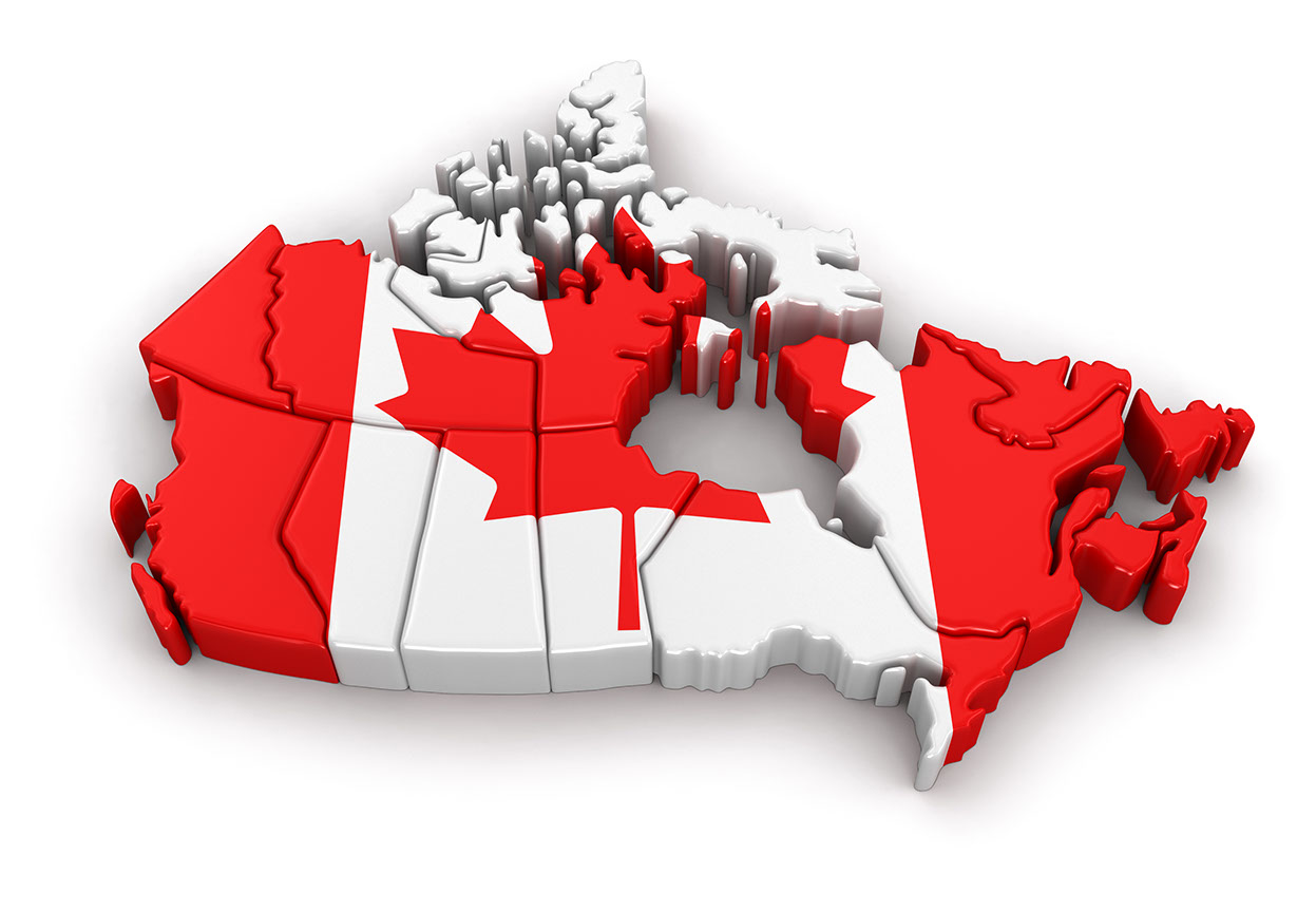 Map of Canada representing Relipharmas services of Shipping pharmaceuticals across Canada from Toronto