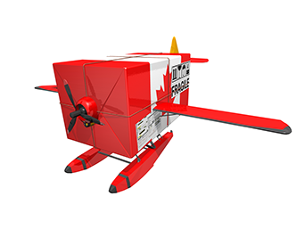 Plane with a canadian flag made out of box representing shipping quality pharmaceuticals across canada